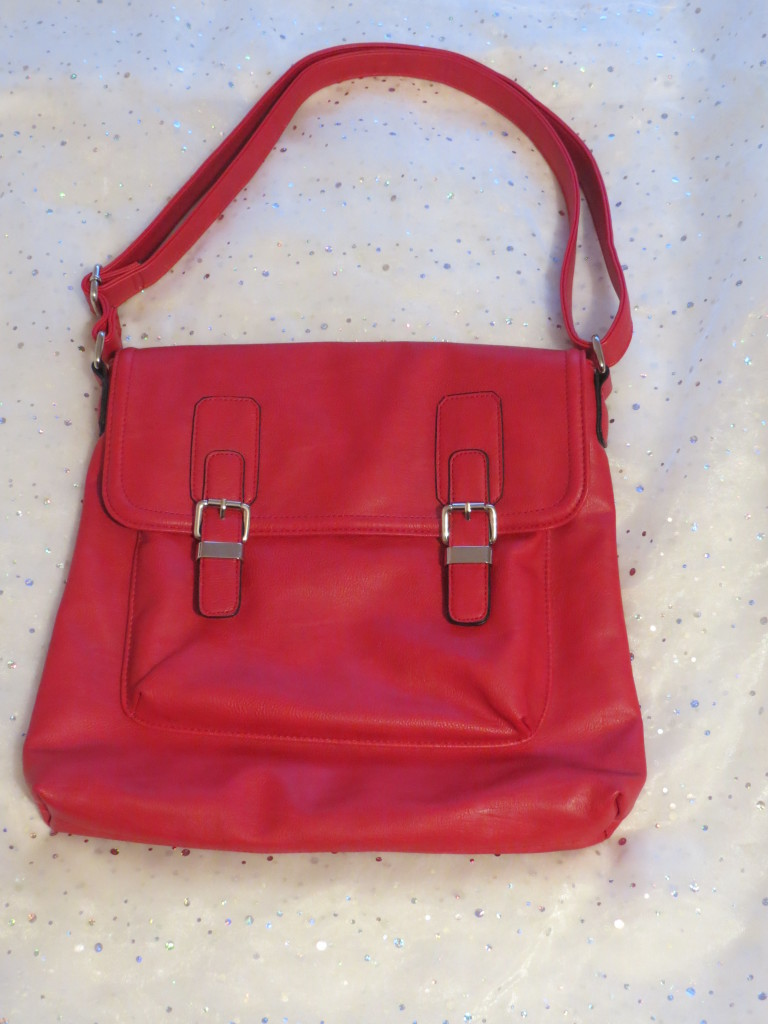 Red faux leather cross body M^&S bag