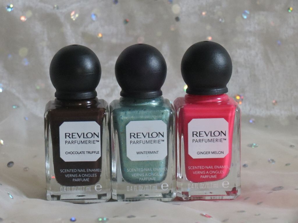 Revlon Parfumerie nail enamels chocolate truffle, wintermint and ginger melon